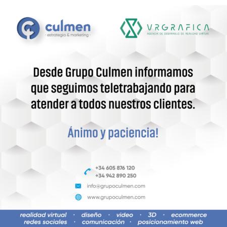Desde Grupo Culmen informamos que seguimos teletrabajando para atender a todos nuestros clientes.
